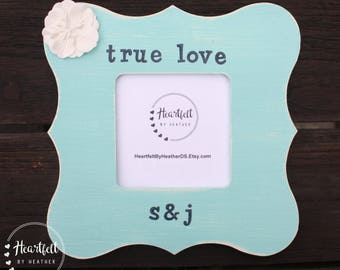 Personalized Engagement Picture Frame Custom Wedding Gift for Couple Personalized Picture Frame Custom Distressed Frame Engagement Gift