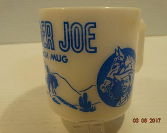 Ranger Joe Cowboy Ranch Blue Graphics Child's Mug Hazel Atlas Glassware 6 oz.