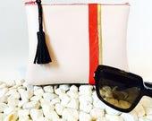 Pochette en cuir doublée en lin pour intérieur de sac