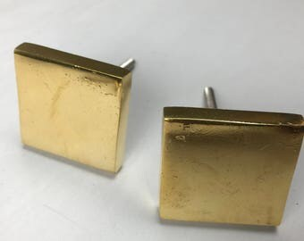 set 6 X Large GOLD SQUARE Metal KNOBS - Home decor furniture drawer pull