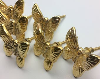 Set 6 X GOLD METAL BUTTERFLY Knobs - Home decor furniture drawer pull