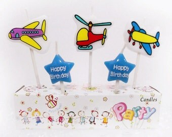 Cute Aeroplane Candles 5pcs|1st first birthday prince boy|Baby shower|Pilot captain theme party|Aerospace|Airplane flying decoration