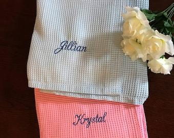 Monogrammed Set of Eight Bath Wraps, Spa Wrap, Towel Wrap, Waffle Towel Wrap, Monogram Towel  Wrap