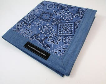 Blue Bandana Fabric and Light Blue Denim EDC Hank Handmade Hank Lightweight Denim Everyday Carry Pocket Dump Hank Mens Handkerchief
