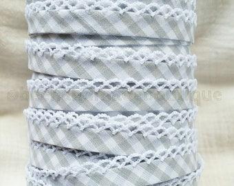 Gray Gingham Crochet Double Fold Bias Tape, Gray Picot Bias Tape, Bias Tape Double Fold, Bias Tape Crochet Edge, Bias Tape by the Yard, Lace