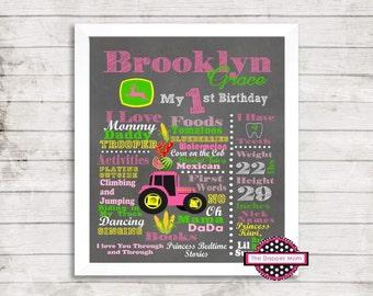 John Deere Birthday Board File/Farm Theme/First Birthday/Chalkboard Print/Digital Print/Chalk print/Tractor/Unisex Birthday/John Deere/Farm