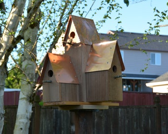 Five-room Birdhouse - Northwest Cedar - Copper Roof