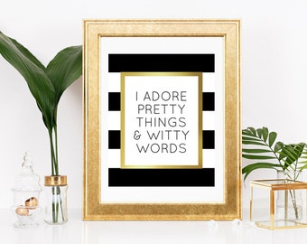 Printable Kate Spade Quote Kate Spade Print Pretty Things Witty Words Quote Bedroom Print Scandinavian Quote Print Fashion Poster