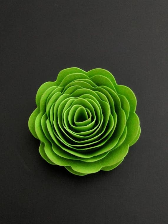 rolled paper flower 3d template svg  dxf cut file for