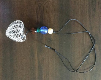 Beaded Glass Heart Hemp Necklace