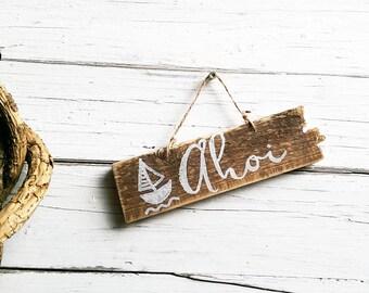 Maritime decoration mark bathroom nursery Gartendeko from wood Ahoy anchor sailboat sea maritime wooden sign anchor handcrafted signs