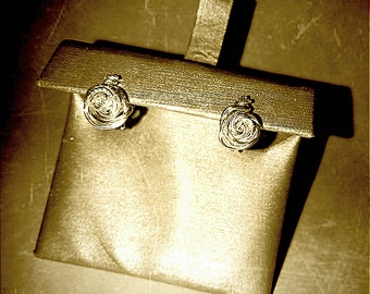 Rose in Bloom Earrings (.999 Fine Silver)