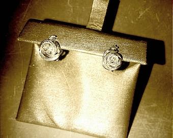Rose in Bloom Earrings (.999 Fine Silver)