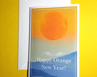 Happy Orange New Year Greeting Card, New Year Card, Funny Greeting Card, Funny New Year Card, Sunrise New Year Card, Orange Greeting Card.
