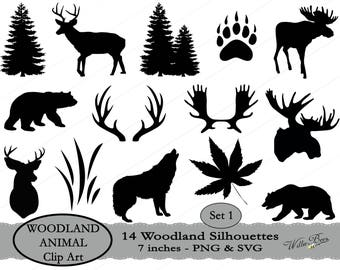 INSTANT Download - 14 Woodland Animal Silhouette Clip Art - 7 inches - PNG & SVG files - Deer - Moose - Bear- Wolf