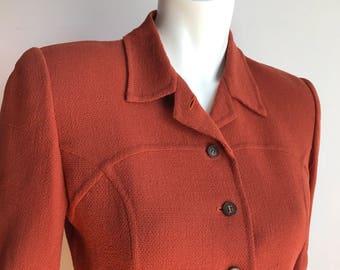 Bill Blass Couture Burnt Orange Suit Skirt Blazer Formal 2 pieces Haute Couture