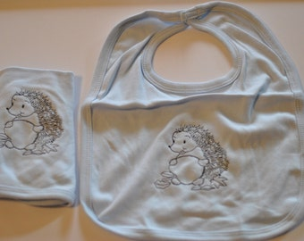 Blue Baby Bib with embroidered Hedgehog