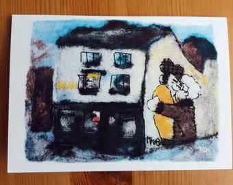 Felt art A6 greeting card - Fagan's, Sheffield