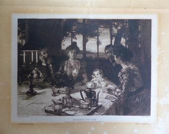 VINTAGE french engraving chat the evening 1902 Gazette of fine arts Paris former french antique gravure scene Belle Epoque FRANCE
