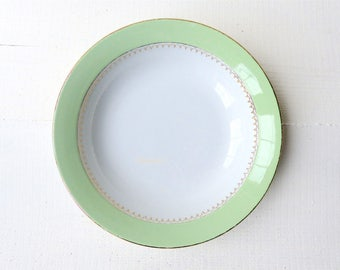 Old plate bowl hollow green gilding coffee Lemaire Vintage white french dish dug flat white line France Shabby golden green gold