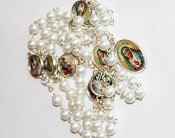 Rosary Our Lady Of The Seven Sorrows White Pearl Beads Mater Dolorosa Handmade