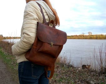 Women's backpack ,leather backpack ,waxed leather backpack .