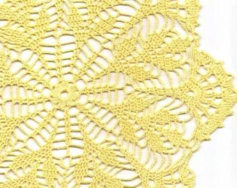 Vintage Handmade Crochet Doily Lace Lacy Doilies Wedding Decoration Home Decor Flower Mandala Dream Catcher Crocheted Pineapple Round Yellow