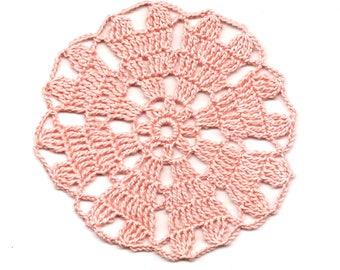 Mini Crochet Doily Lace Doilies Table decoration Crocheted Doily Centerpiece Handmade Wedding Doily Napkin Boho Bohemian Decor Round Peach
