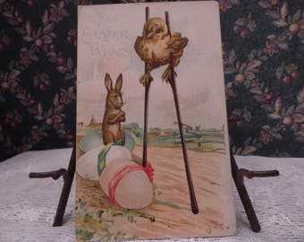 Early Chick on Stilts Easter postcard