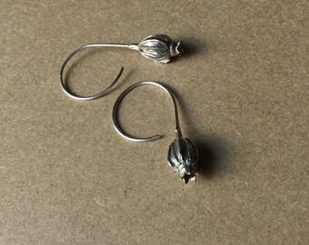 Silver seed pod drop earrings, flower earrings, botanical earrings, handmade earrings