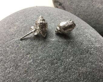 Sterling silver shell stud earrings, fossilised shell, tiny shell earrings, organic earrings.