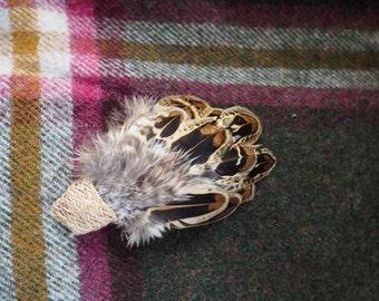 Hen Feather Brooch: Elderwood