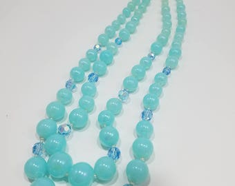 Think Spring!  Beautiful Aqua Glass Bead with Crystal Double Strand Necklace