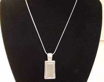 Handmade 10.25 ct druzy & .999 solid silver pendant w/Sterling Silver Snake Chain