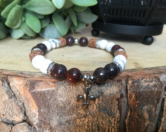 Bracelet Lily howlite and poppy Jasper