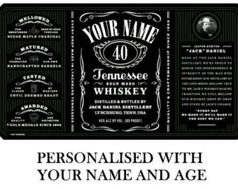 Jack Daniels style label edible cake topper personalised