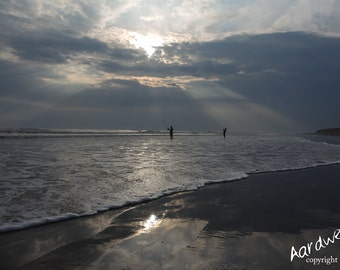 Beach Fishing Pembrey West Wales Photography Print - unframed