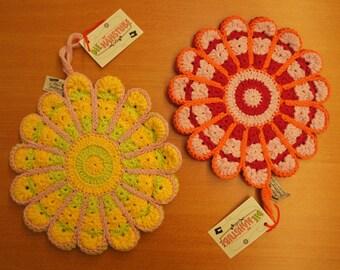 Crochet pot holders/table mat red, purple, orange