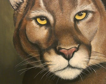 Cougar Painting / Mountain Lion Painting / Wildlife Painting / Original Painting / Wildlife Art / 11 x 14