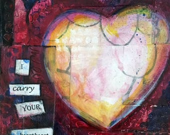 "I Carry Your Heart Heart- Original Mixed Media Painting 5""x5"" - Heart, Red, Words"