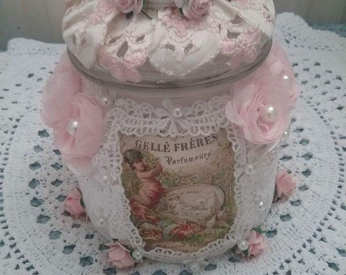 Vintage doilie Jar, covered night light jar, fairy jar, Tea light Jar, night light, lantern,