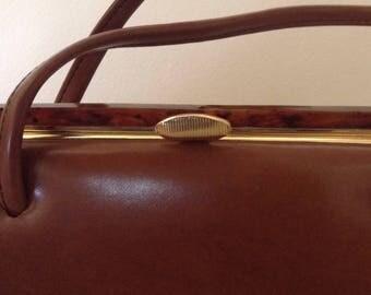 Vintage Handbag / Leatherette, Metal, Bakelite