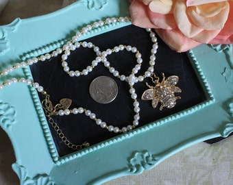 Dainty Pearls with a Rhinestone Bee Necklace