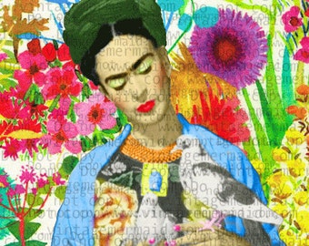 FABRIC BLOCK FRIDA Kahlo Craft Panel Floral Quilt Cotton Panel FKFB03