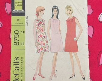 """REDUCED 1960s Vintage McCall's Pattern 8750 Misses' Dress in Two Versions - Sleeveless Lightly Fitted 3 Section Dress - Size 16 Bust 36"""""""
