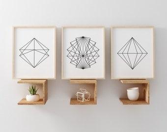 Set of Three Printable Art, Geometric Print, Minimalist Print, Black & White Print, Scandinavian Wall Art, Geometric Poster, Nordic Print,