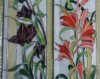 Stained glass 3 piece floral set