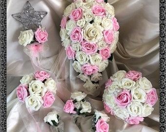 Wedding Flowers Light Pink & Ivory wedding bouquets with butterflies, Brides, Bridesmaids, Flowergirls etc