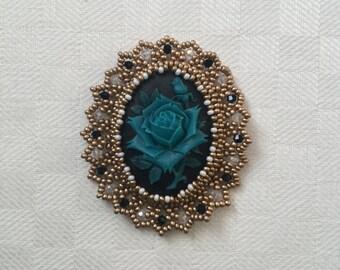 Blue rose cameo