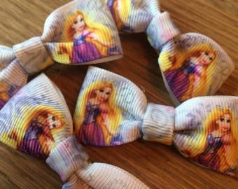 "Disney princesses ""rapunzel"" ribbon hair bow clips"